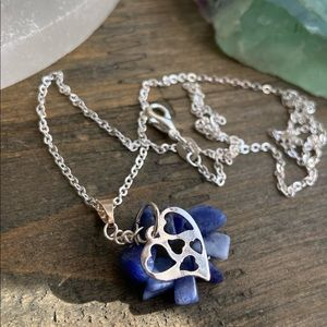 STERLING SILVER SODALITE HEARTS DELICATE NECKLACE